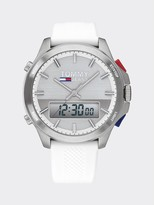 Tommy Hilfiger Analog + Digital Watch with White Silicone Strap