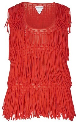 Bottega Veneta Sleeveless silk cotton fringes top