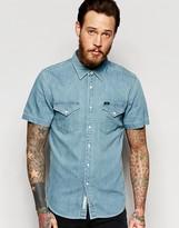 Lee Western Denim Shirt Short Sleeve Slim Fit Light Blue