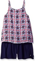Nautica Big Girls' One Piece Printed Romper with Flowy Top and Knit Short