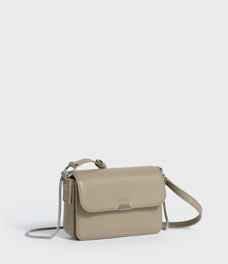 AllSaints Captain Leather Mini Flap Crossbody Bag