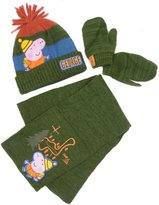 Peppa Pig George Pig Hat Scarf And Mitts Set Age Only Lovely Explorer Theme