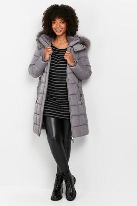 Wallis Grey Faux Fur Hood Quilted Coat