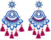 Mercedes Salazar Fiesta Tasseled Gold-plated, Resin, Bead And Pearl Clip Earrings - Blue