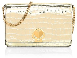 Kate Spade Romy Twistlock Croc-Embossed Metallic Leather Wallet-On-Chain