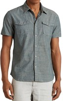 John Varvatos Chambray Snap Front Slim Fit Shirt