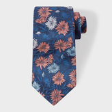 Paul Smith Men's Navy Embroidered Large Floral Silk Tie