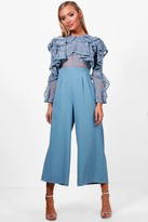 boohoo All Over Lace Ruffle Culotte Jumpsuit