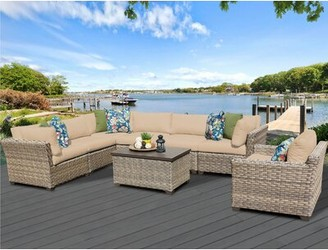 Rochford Sol 72 Outdoor 8 Piece Sectional Seating Group with Cushions Sol 72 Outdoor Cushion Color: Wheat
