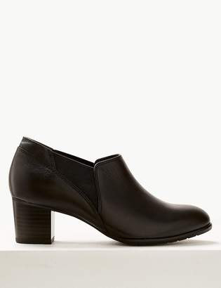Marks and Spencer Leather Chelsea Block Heel Shoe Boots