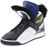 Fendi Monster Fur-Trimmed High-Top Sneaker