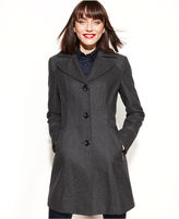 Kenneth Cole Reaction Wool-Blend Studded Notched-Collar Coat