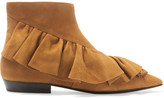 J.W.Anderson Ruffled Suede Ankle Boots - Tan