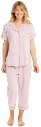 Harper & Grace Covent Garden Woven Short Sleeve Top with 3/4 Pant PJ Set
