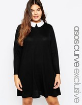 Asos Knitted Swing Dress With Cute Collar