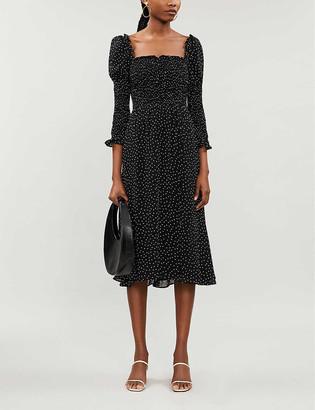 Reformation Rosamund polka-dot print crepe midi dress