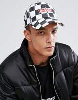 Granted Baseball Cap In White Checkerboard With Danger Print