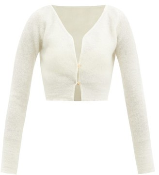 Jacquemus Alzou Cropped Mohair-blend Cardigan - Cream