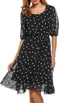 Meaneor Women's Summer Polka Dots A-line Pleated Chiffon Sundress Casual Dress