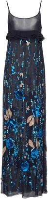 Prada Ruffled Embellished Silk-Chiffon Dress