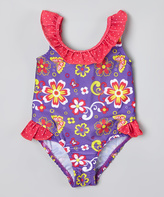 Pink Platinum Purple & Pink Flower Swimsuit - Infant & Toddler