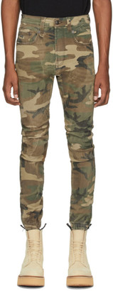 R 13 Green Denim Cooper Camouflage Drop Jeans