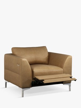 John Lewis & Partners Belgrave Motion Leather Armchair with Footrest Mechanism, Metal Leg