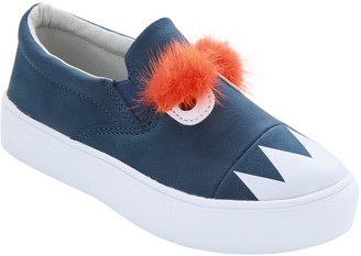 Hoo Girls' Sneakers Navy - Navy Monster Slip-On Sneaker - Girls