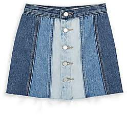Blank NYC Girl's Mixed-Denim Button Skirt