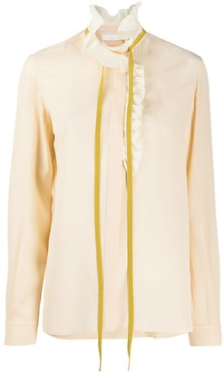 Chloé Frilled Neck Tie Blouse