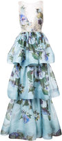 Marchesa floral patterned layered gown - women - Silk - 8