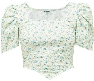 Batsheva Square-neck Floral-print Cotton Top - Green Multi