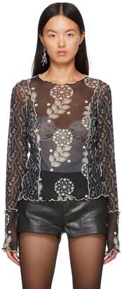 Anna Sui Black Mesh Posies & Pop Flowers Long Sleeve T-Shirt