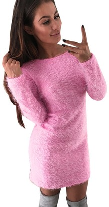 VECDY Women's Winter Sweater Long-Sleeved Solid Color Fleece Warm Base Short Mini Dress Round Neck Faux Fur Dress Pink