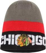 Reebok Men's Gray/Black Chicago Blackhawks Center Ice Uncuffed Knit Beanie