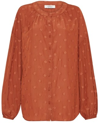 Allora Claremont Jacquard Blouse - Burnt Orange