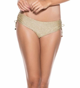 OndadeMar Women's Gold Every Day Adjustable Side Hipster Bikini Bottom S