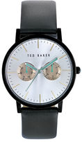 Ted Baker Smart Casual Black Stainless Steel and Leather Strap Watch