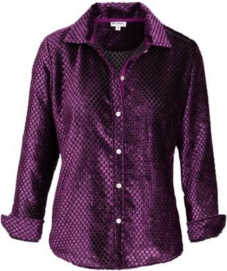 AtLAST Karen Silk Velvet Shirt- Purple Spot