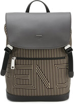 Fendi striped drawstring backpack - men - Cotton/Calf Leather - One Size