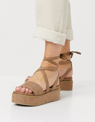 ASOS DESIGN Tessa tie leg flatform sandals in taupe
