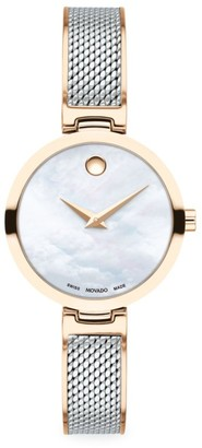 Movado Amika Rose Gold PVD-Plated, Stainless Steel & Mesh Bangle Watch