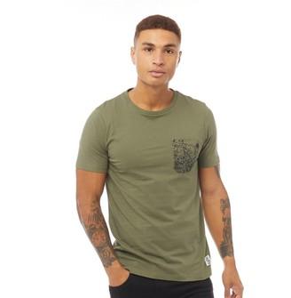 Fluid Mens Splatter Pocket Print T-Shirt Burnt Olive/Black