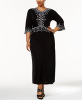NY Collection Plus Size Embroidered Maxi Dress