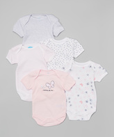 Bon Bebe Pink & White Butterfly Bodysuit Set - Infant