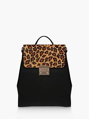 Carvela Sandy Leather Leopard Print Backpack, Black/Multi