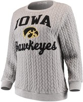 Women's Gray Iowa Hawkeyes Jacquard Chunky Cable Knit Tri-Blend Sweatshirt