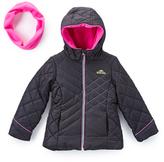 Pacific Trail Black & Pink-Accent Puffer Jacket & Neckwarmer - Girls