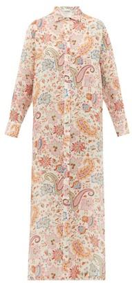 Etro Paisley-print Ramie Shirtdress - Womens - White Print