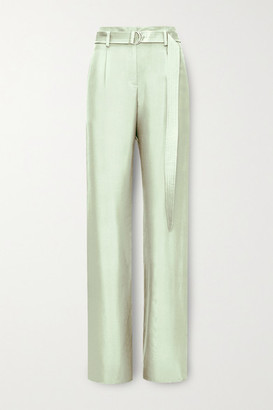 Sally LaPointe Belted Silk-twill Wide-leg Pants - Mint